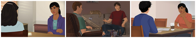Screenshots from suicide prevention trainings, each is two illustrated people having a dialogue.