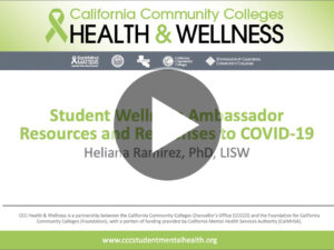 Title Slide for Student Wellness Ambassador Resources and Responses to COVID-19 Webinar